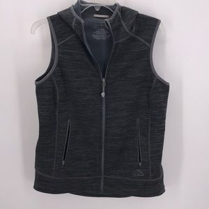 LL.bean BLK/GRAY  WARM INSULATED VEST W/HOOD